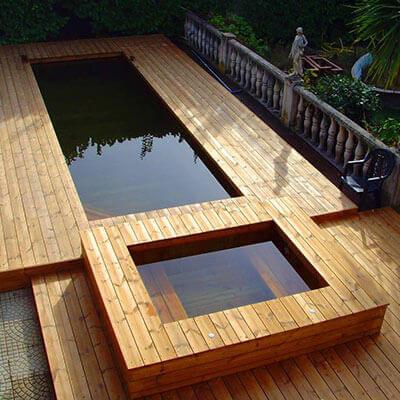 nos r alisations de jacuzzis en bois. Black Bedroom Furniture Sets. Home Design Ideas