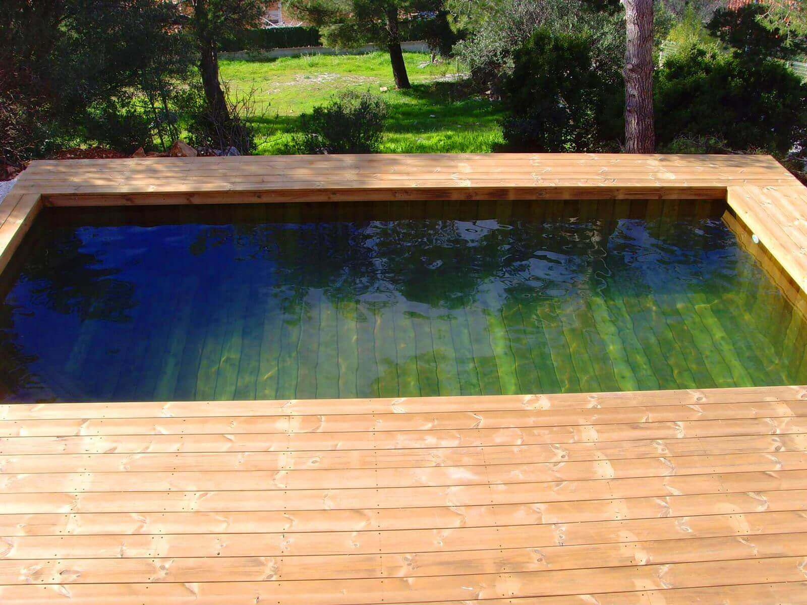 Photos de piscines en bois hors sol sur mesure sans liner for Piscine demontable bois