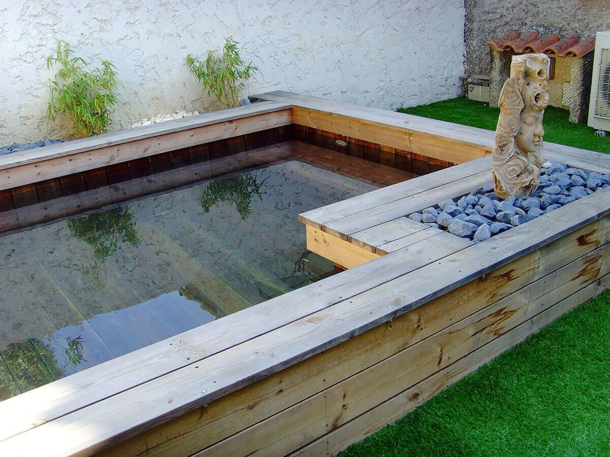 Mettre Piscine Sur Terrain En Pente installateur de piscine en bois semi-enterrée en paca : 83